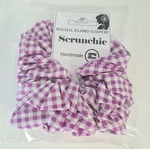 Handmade NEW Purple White Check Hair Scrunchie